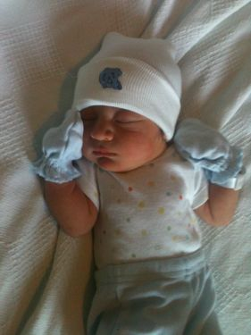 New Tarheel fan coming home from hospital after birth!